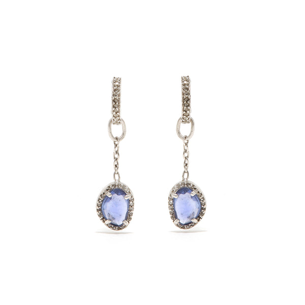 Violet Diamond T Chain Earrings