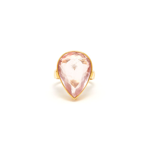 Jaipur Atelier Rose Quartz Pear Cocktail Ring