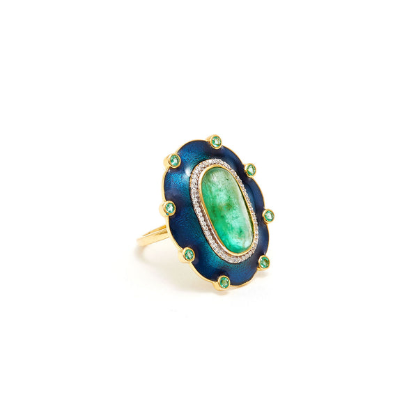 Jaipur Atelier The Peacock Columbian Emerald Cocktail Ring