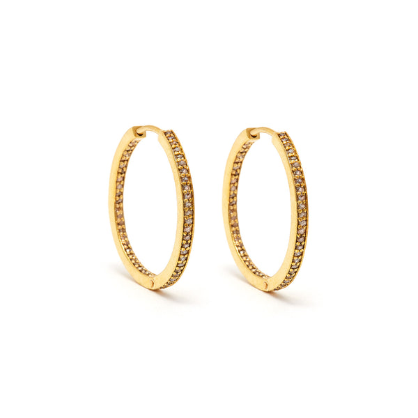 Medio Diamond Gold Hoops