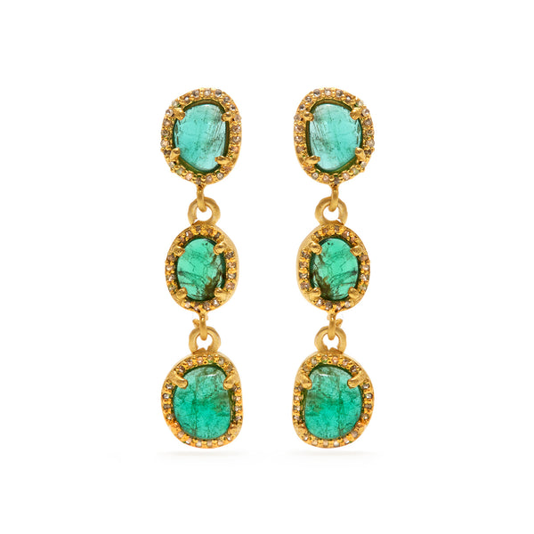 Jaipur Atelier Emerald Diamond Drop Earrings