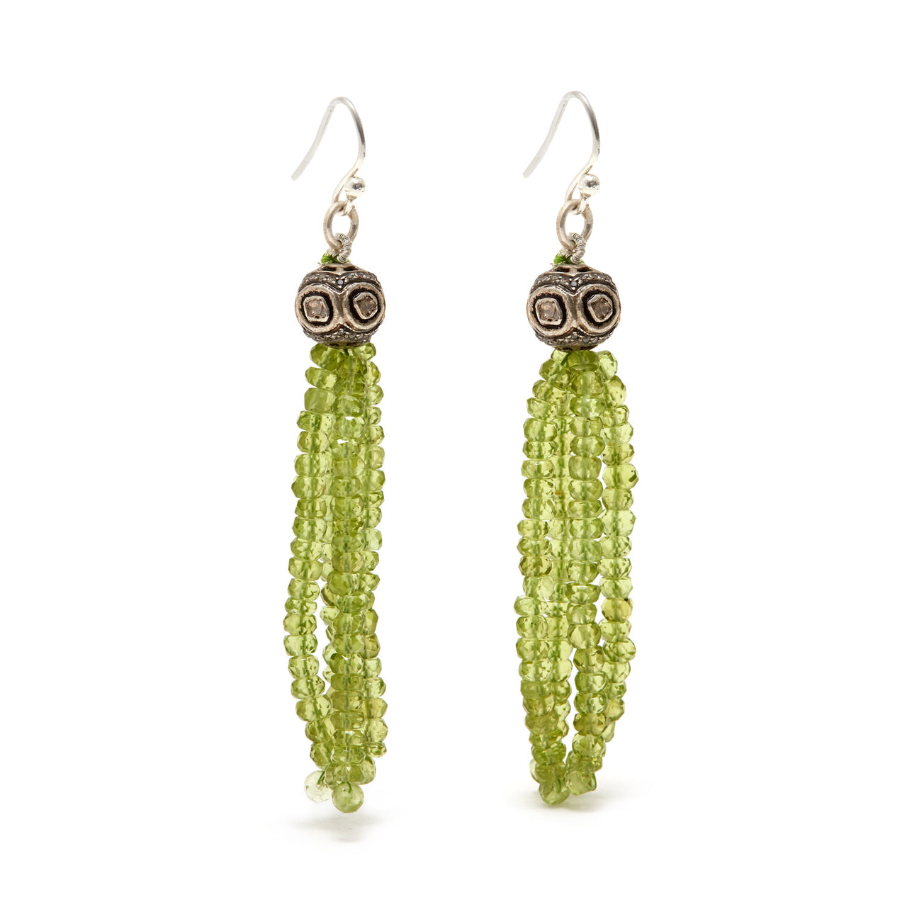 Jaipur Atelier Green Peridot Diamond Disco Ball Tassel Earrings