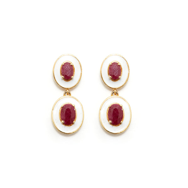 White Enamel Ruby Drop Earrings