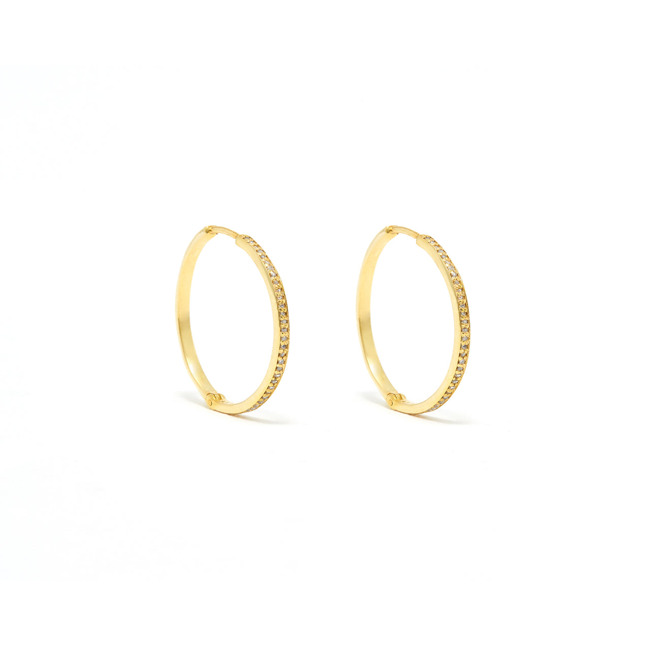 Glitter Hoop 22 Diamond Earrings.-Earrings-Jaipur Atelier