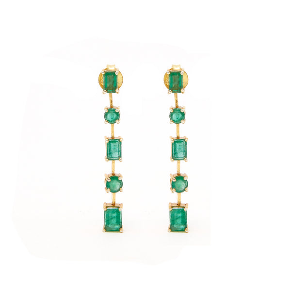 Emerald Baguette Chain Earrings-Earrings-Jaipur Atelier