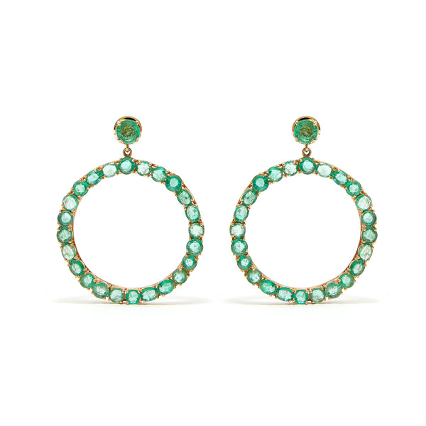 Sexy Emerald Front Facing Hoops