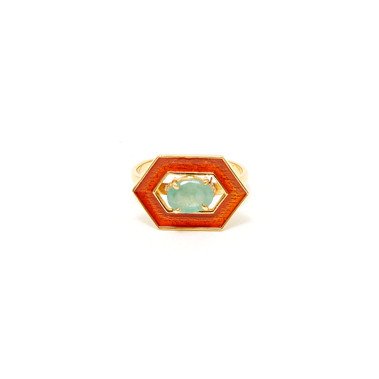 Petit Jai Emerald Orange Enamel Ring