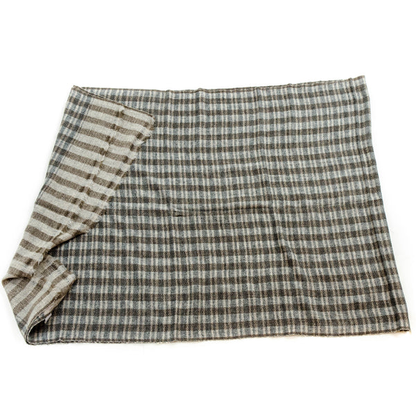 Neutral Plaid Stripe Waffle Baby Cashmere Scarves in Indian Silk Bag