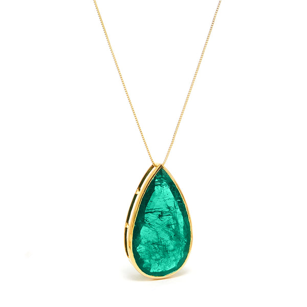 Certified Emerald Tear Drop Pendant