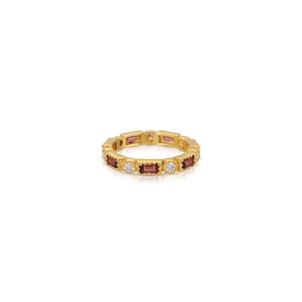 Burgundy Garnet Diamond Link Band