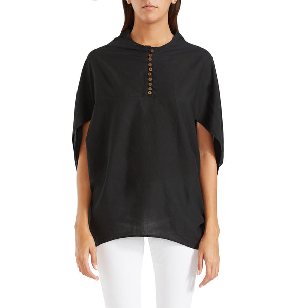 Antonia Cape Blouse Black