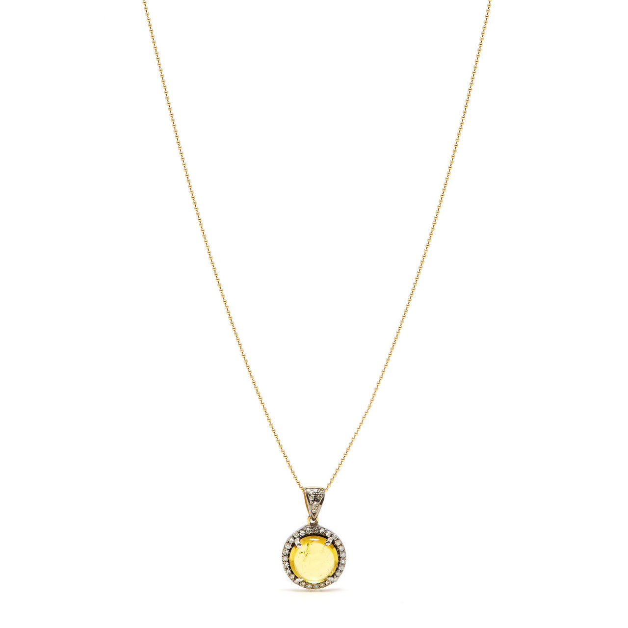 Golden Citrine Diamond Pendant