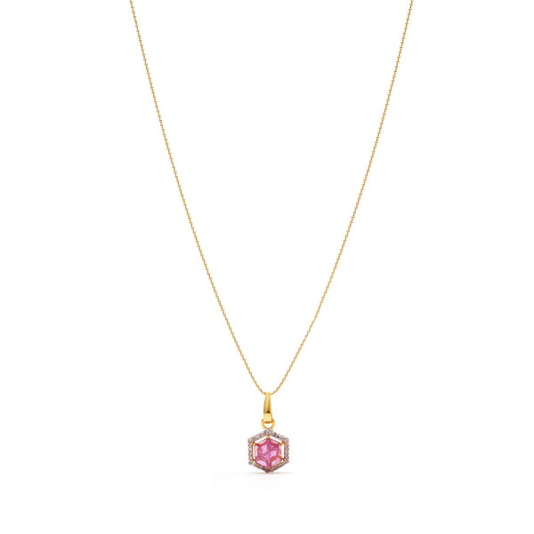 Hexagonal Ruby Diamond Pendant