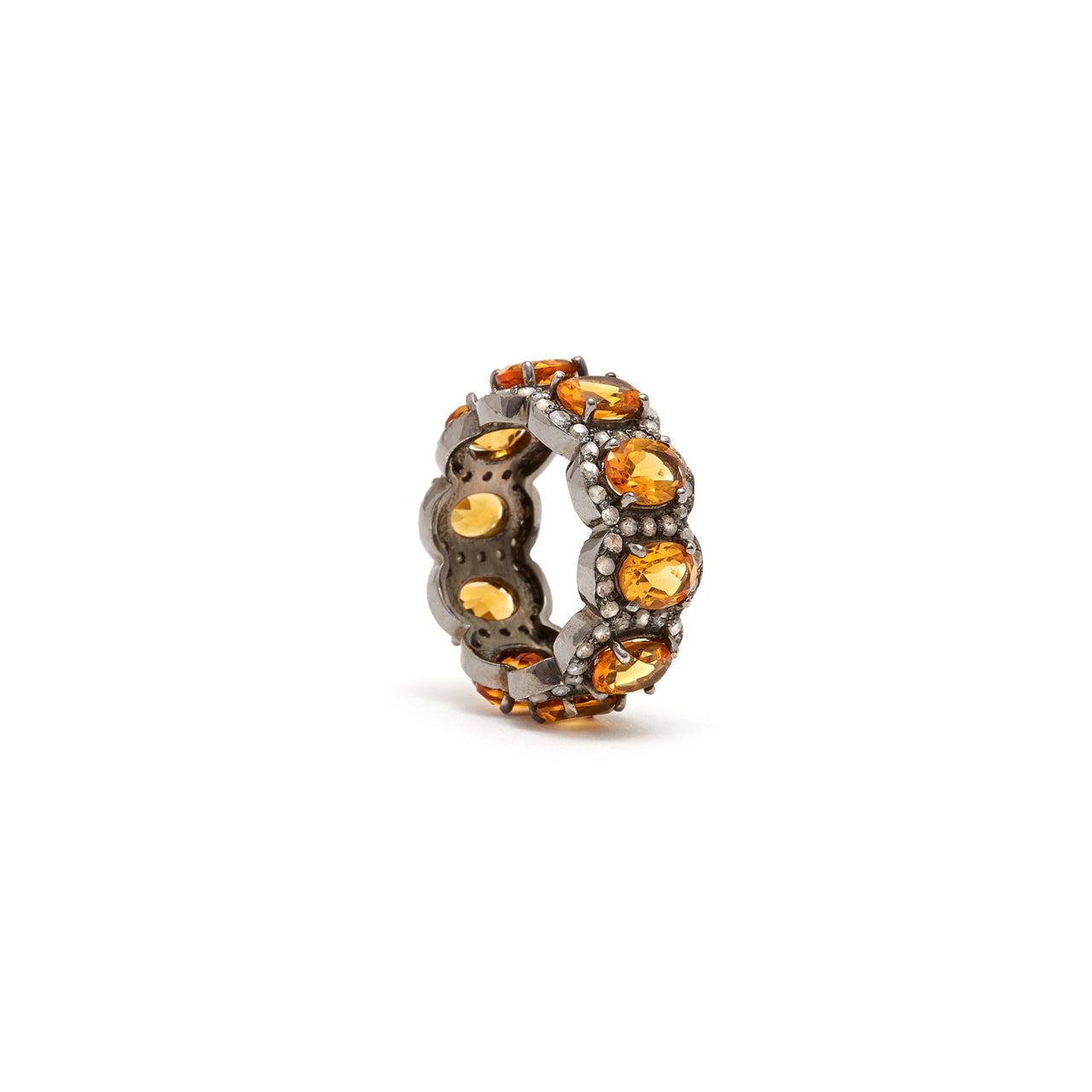 Amber Orange Citrine Diamond Tiara Ring-Ring-Jaipur Atelier