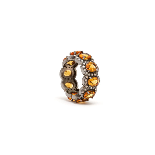 Amber Orange Citrine Diamond Tiara Ring