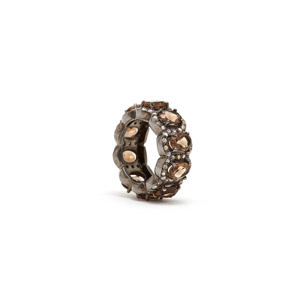 Smokey Quartz Diamond Tiara Ring