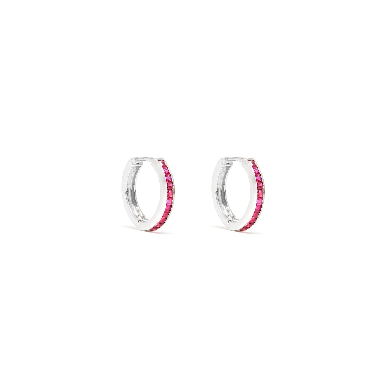 Ruby Baguette Hoop Earrings-Earrings-Jaipur Atelier