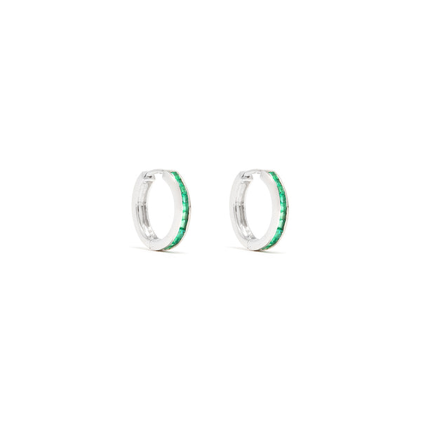 Emerald Baguette Hoop Earrings-Earrings-Jaipur Atelier