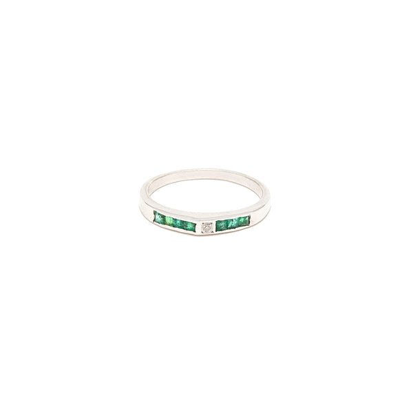 Emerald Diamond Baguette Band