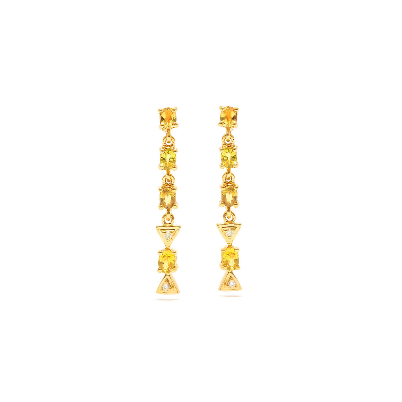 Yellow Sapphire Diamond Chandelier Earrings-Earrings-Jaipur Atelier