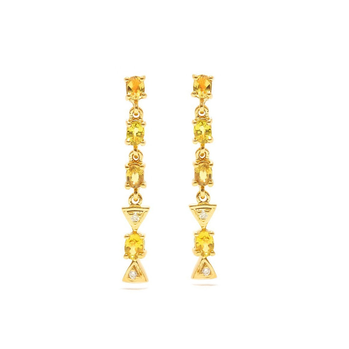 Yellow Sapphire Diamond Chandelier Earrings