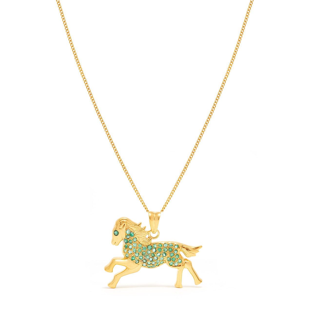 Emerald Cheval Pendant-Necklace-Jaipur Atelier