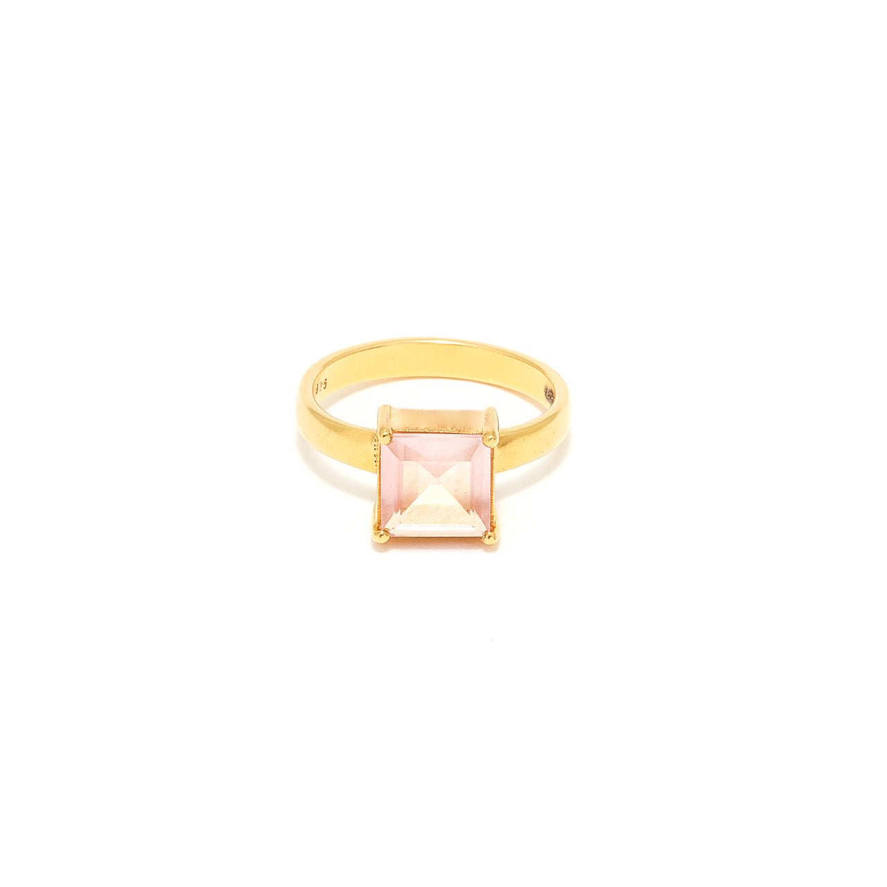 Rose Quartz Cushion Cut Dress Ring-Ring-Jaipur Atelier