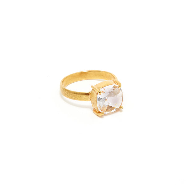 Petit Jai Checker Cut Crystal Dress Ring