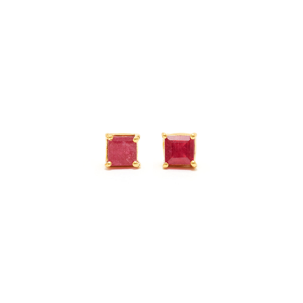 Ruby Cushion Cut Stud Earrings-Earrings-Jaipur Atelier