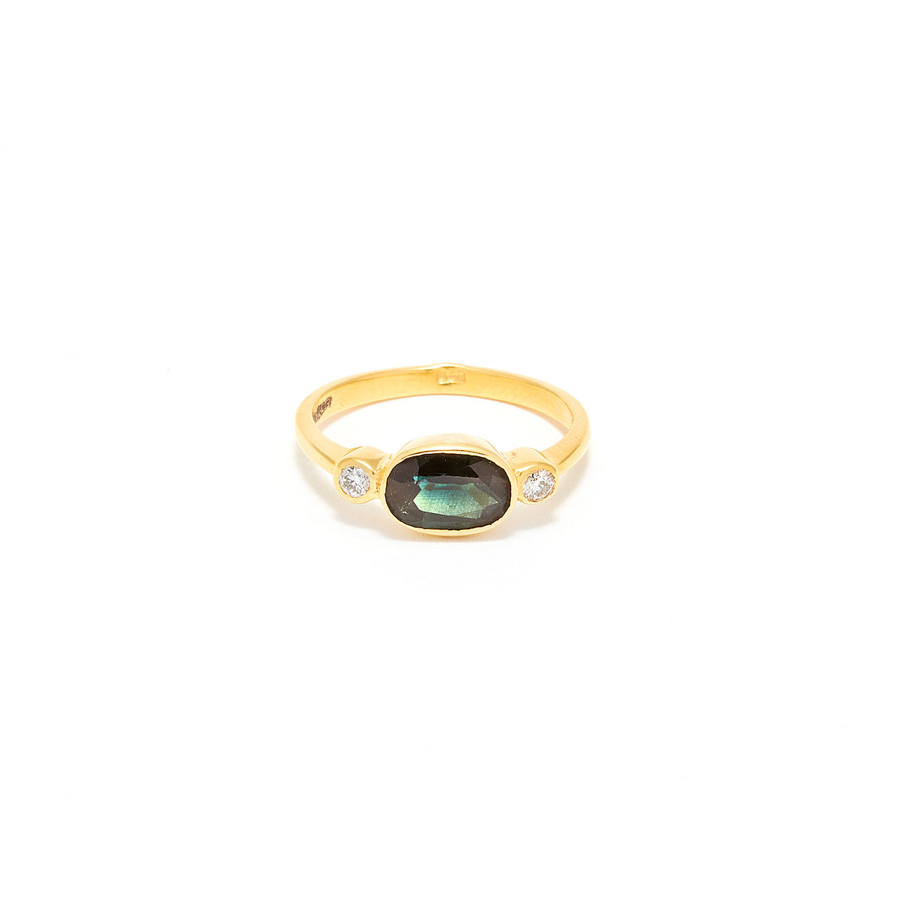 Green Sapphire Diamond Dress Ring-Ring-Jaipur Atelier