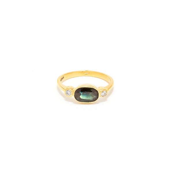 Green Sapphire Diamond Dress Ring