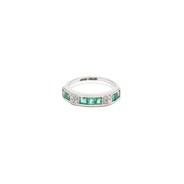 Emerald Diamond Baguette Band Ring-Ring-Jaipur Atelier