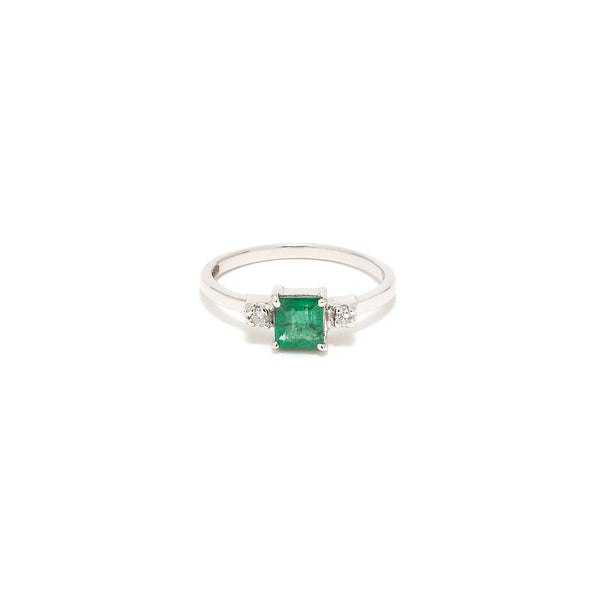 Emerald Cut Emerald Diamond Ring-Ring-Jaipur Atelier