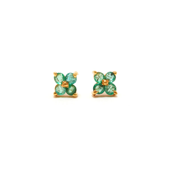 Emerald Flower Four Earrings