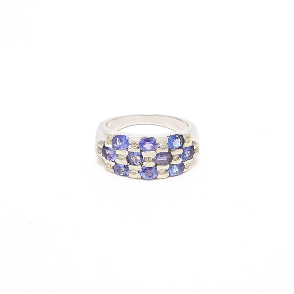 Tanzanite Diamond Checker Dress Ring