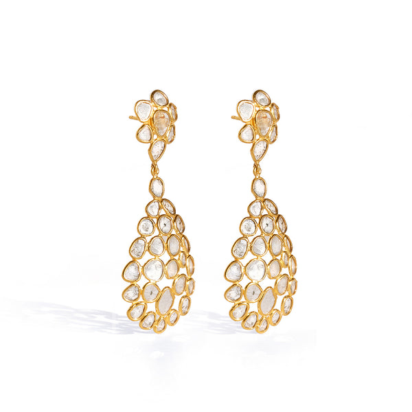 Diaphanous Diamond Long Drop Earrings