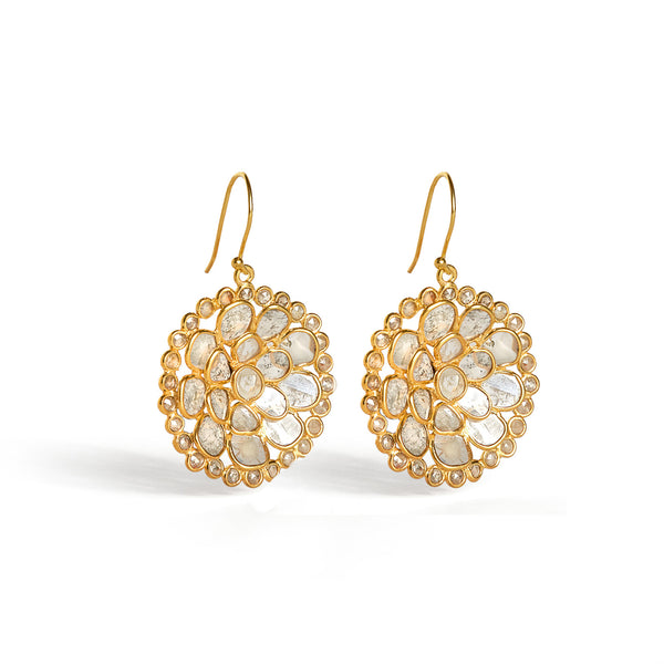 Diaphanous Cirque Rose Cut Diamond Earrings-Earrings-Jaipur Atelier