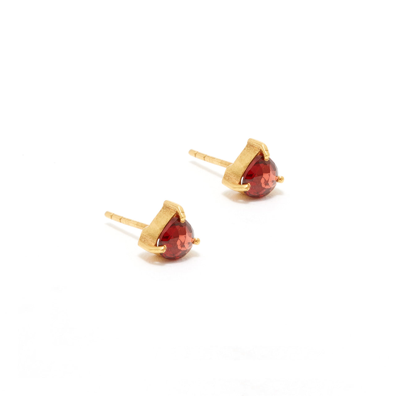 Garnet Heart Stud Earrings-Earrings-Jaipur Atelier