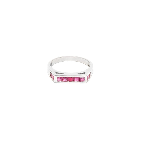 Square Top Ruby Baguette Ring