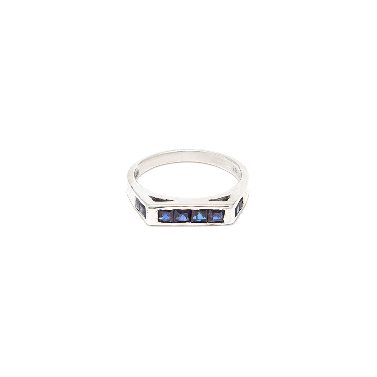 Square Top Sapphire Baguette Ring