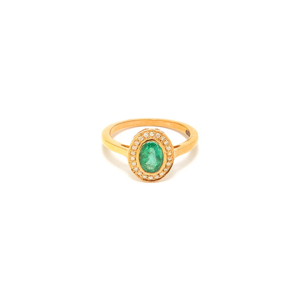 Emerald Diamond Oval Ring