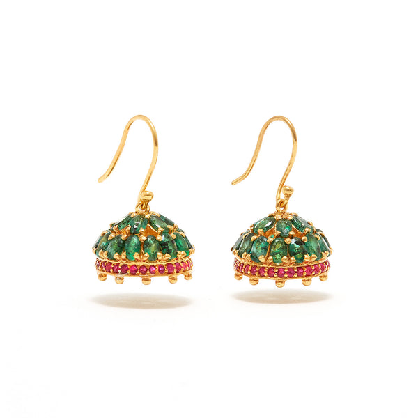 Ruby Emerald Indian Chandelier Earrings-Earrings-Jaipur Atelier
