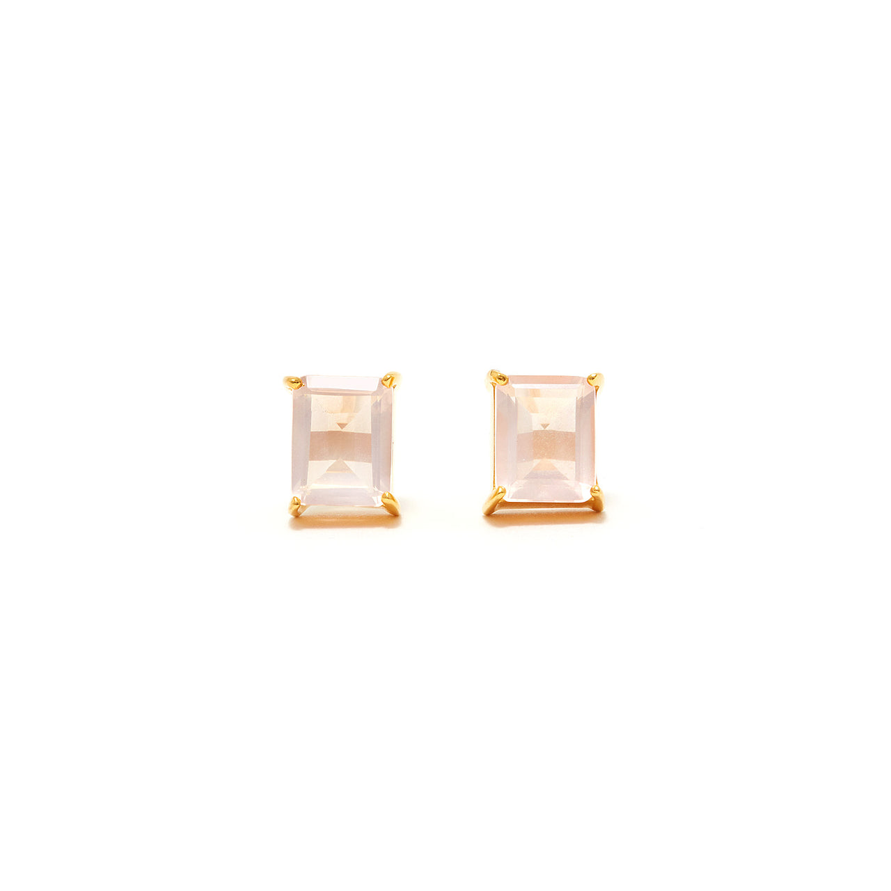 Pink Rose Quartz Stud Earrings-Earrings-Jaipur Atelier