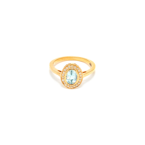 Petit Jai Aquamarine Diamond Oval Ring