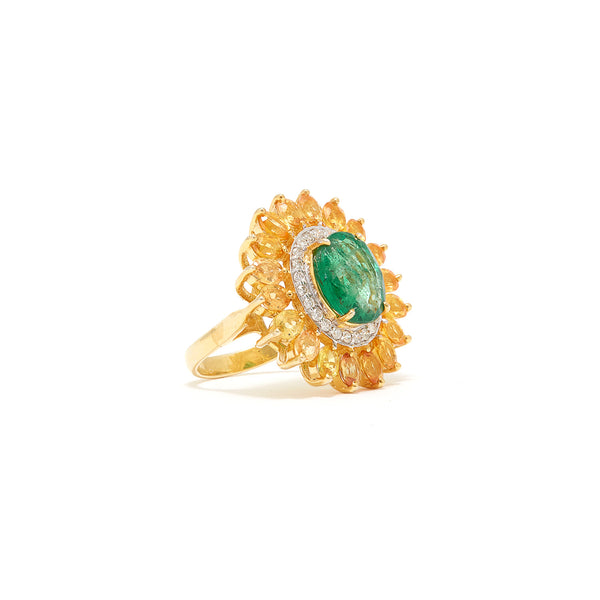 Yellow Sapphire & Emerald Sunflower Ring-Ring-Jaipur Atelier