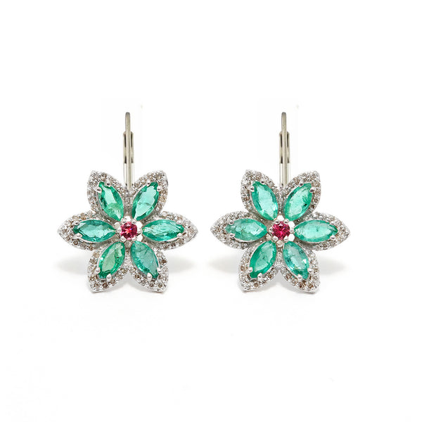 Emerald Tourmaline Star Earrings-Earrings-Jaipur Atelier