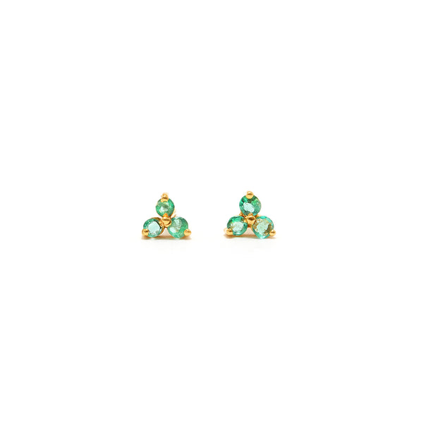 Petit Jai Emerald Trois Stud Earrings