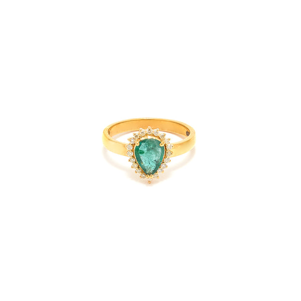 Emerald Diamond Pear Pinky Ring