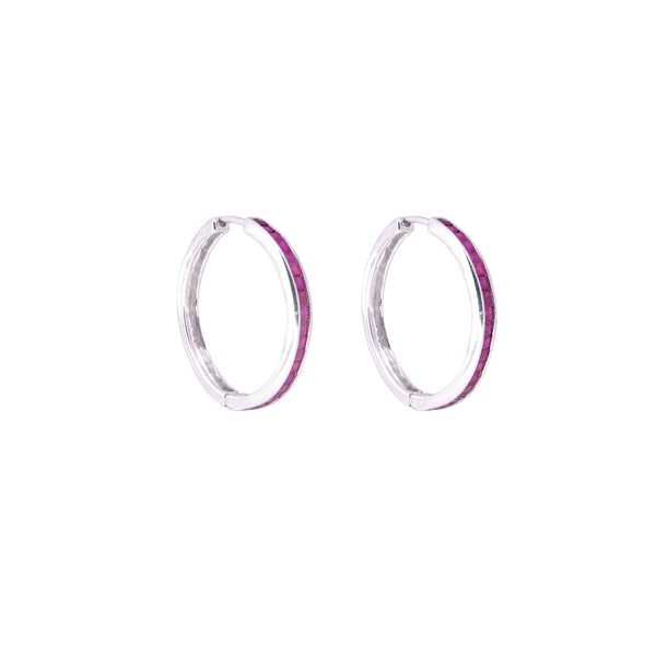 Ruby Elle Baguette Hoops-Earrings-Jaipur Atelier