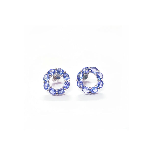 Tanzanite Cirque Baguette Studs-Earrings-Jaipur Atelier